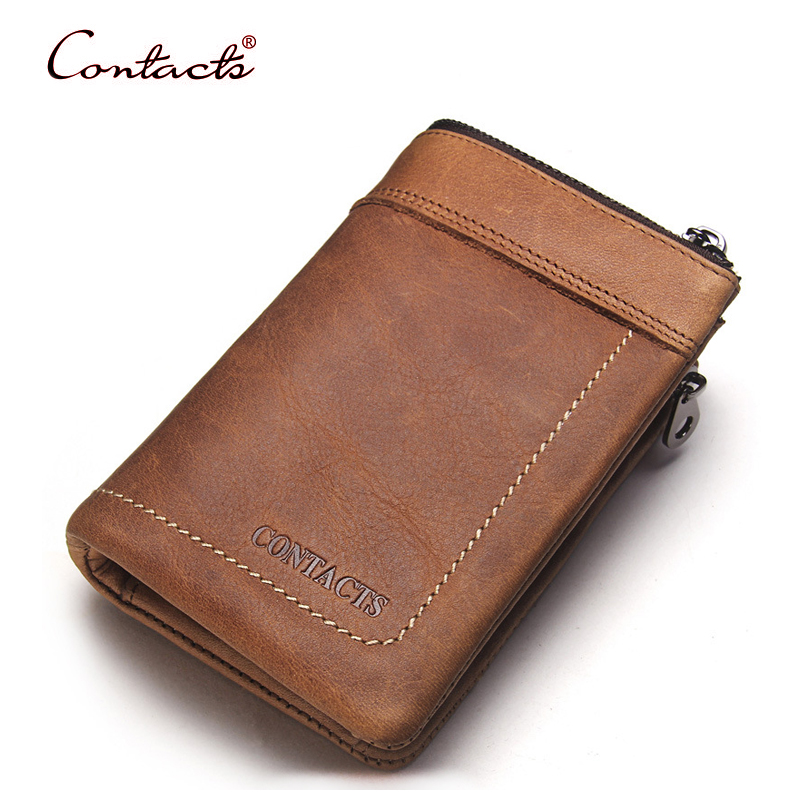 CONTACT'S Men Wallet Cowhide Genuine Leather Vintage Casual 2017 Card Holder Coin Purse Money Short Famous Brand Male Clutch high quality men genuine leather organizer wallet vintage cowhide clasp card holder coin purse vintage carteira masculina 1011