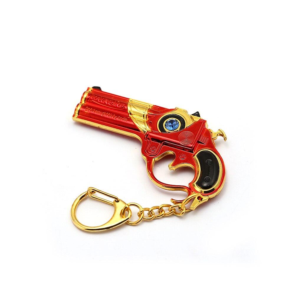 HSIC Game Bayonetta Gun Metal Keychain Crystal Accessories Bag Pendant Men Gift Jewelry Car Key Holder Rings Llaveros Para Mujer