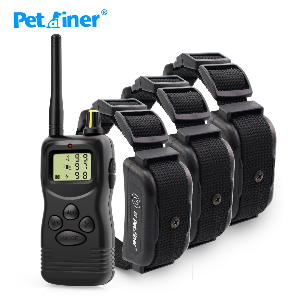 Petrainer 1000M 900B 3 Waterproof and Rechargeable Dog remote training shock collar for 3 dogs