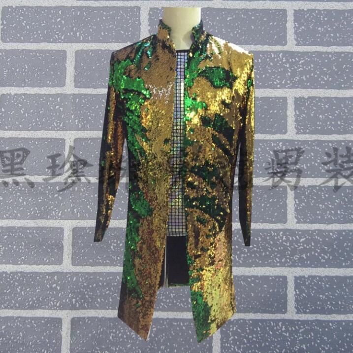 Rock mens long suits designs stage costumes for singers men sequin blazer olor changeable jacket star style stand collar punk