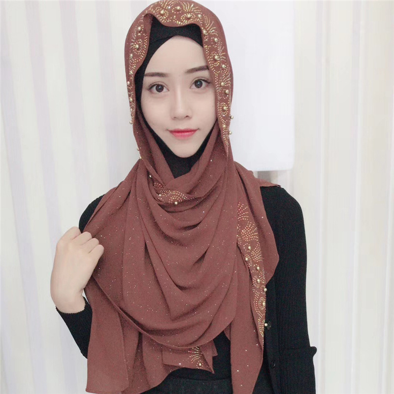 1 pc new bubble chiffon hijab scarf shawls fashion glitter wraps handmade golded blingbling beads shinny long scarves scarf in Women 39 s Scarves from Apparel Accessories