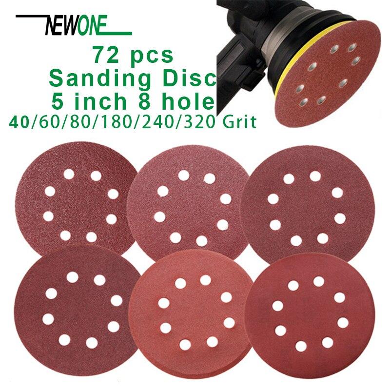 72 PCS 5 Inch 8 Hole Hook And Loop Sandpaper Sanding Disc Sandpaper Sanding Sheets Assorted 40 60 80 180 240 320 Grits For Rando