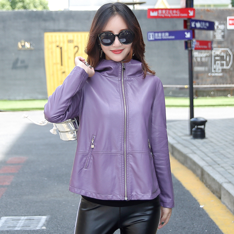 Women's Leather Jacket M-3XL 2018 Winter Coat Female Loose Plus Size Hooded Solid Leather Outwear Black Red Purple