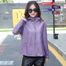 Women's Leather Jacket M-3XL 2017 Winter Coat Female Loose Plus Size Hooded Solid Leather Outwear Black Red Purple цена