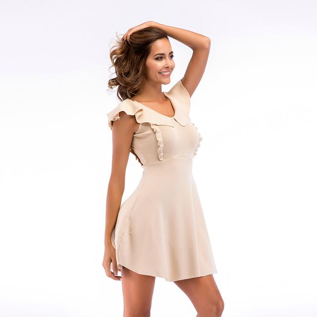 2020 Summer Women Knitted Cotton Dress Ruffle Off Shoulder Strap Female Girl Casual Beach Dresses