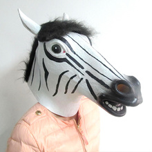 Hot Sale Fun Halloween mask realistic latex horse head /Interesting funny party masquerade masks Latex face Zebra mask in stock
