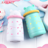 300ML Mini Kids Cute Bear Thermos Creative Portable Thermocup Stainless Steel Tea Thermo Mug Child Coffee