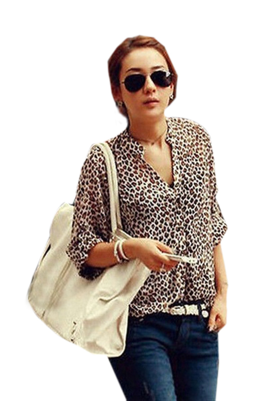 9cc3462a4f30 Hot Fashion Women Shirt Leopard Print Chiffon Blouse 3 4 Sleeve V Neck  Loose Tops Brown-in Blouses   Shirts from Women s Clothing   Accessories on  ...