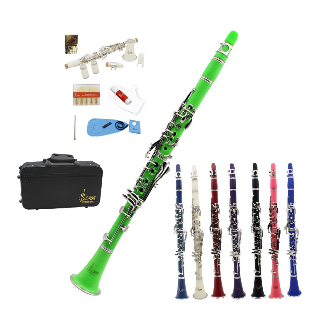 Black Blue Green Pink Purple Red White Bb Clarinet +CareKit+11Reeds+Case ABS 17 Key bB Flat Soprano Binocular Clarinet Choose