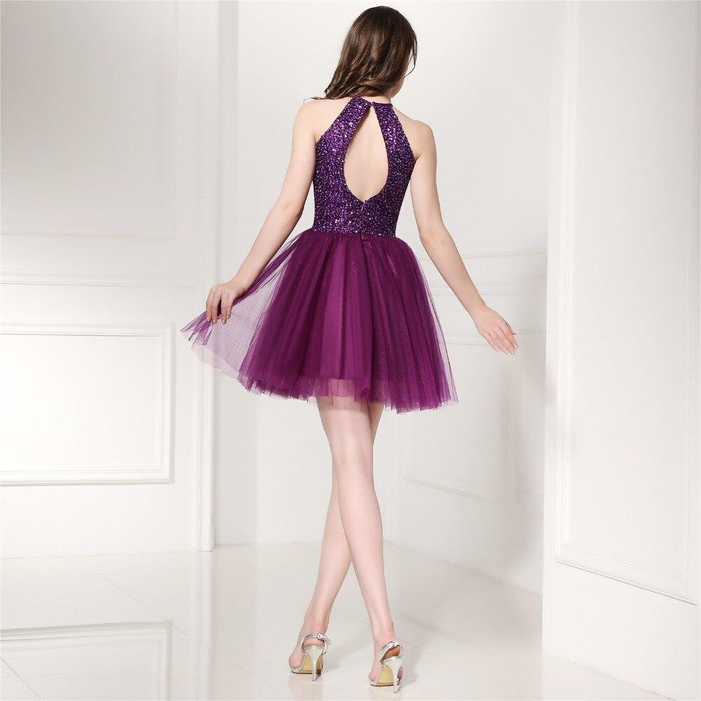 Vestidos de Coctel púrpura 2017 A Line Cabestro Corto Vestidos de ...