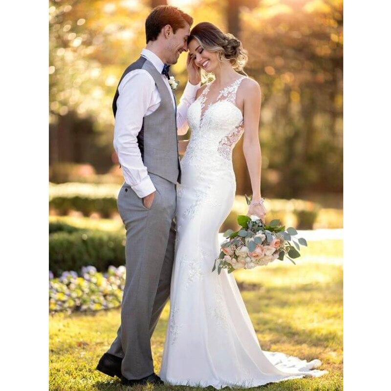 Smileven Mermaid Wedding Dress Sleeveless Appliqued Lace Bride Dress Elegant Vintage Backless Informal Bridal Gown Boho in Wedding Dresses from Weddings Events