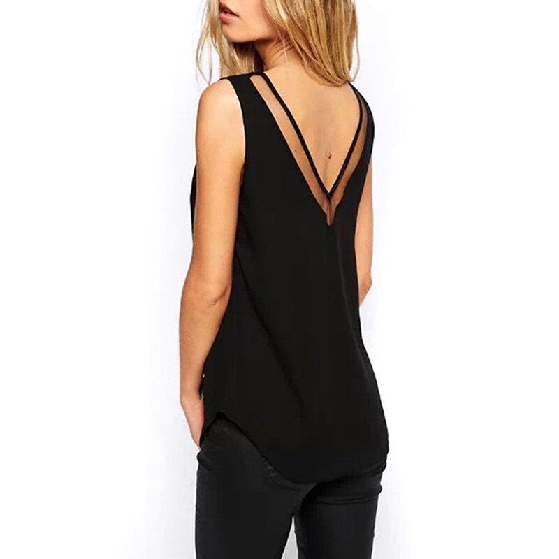 Fashion Solid Color Chiffon Blouse Women Sleeveless V neck Casual Women Tops Sweet Women Clothing OL Shirt Blusa Female 3