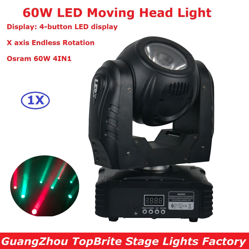 2017 Newest 60W LED Moving head Light DMX DJ Disco Party Wedding Stage Effect Fixture 60W RGBW 4IN1 LED Moving Head Beam Lights