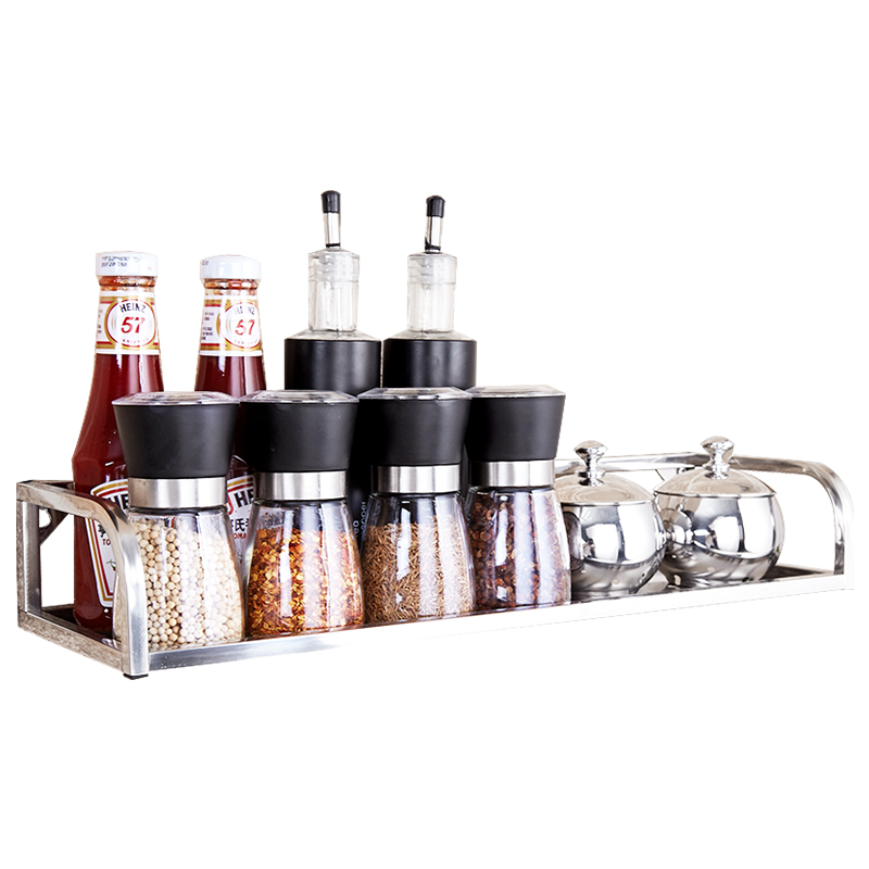 Stainless steel kitchen shelves single-layer wall seasoning seasoning rack oil salt soy sauce vinegar storage rack LU4249 stainless steel seasoning cans spoon assembly