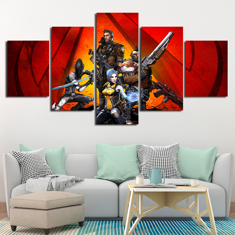 Home Decor Wall Art Canvas Painting 5 Pieces Borderlands 2 Modular Kids Room Game Pictures Creative Poster Frame Artwork Printed image