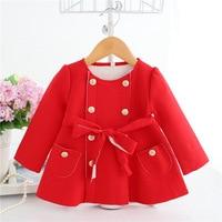 infant clothes 2018 spring girls coat lovely long sleeve Double breasted trench coat fashion kids jacket casaco infantil menina