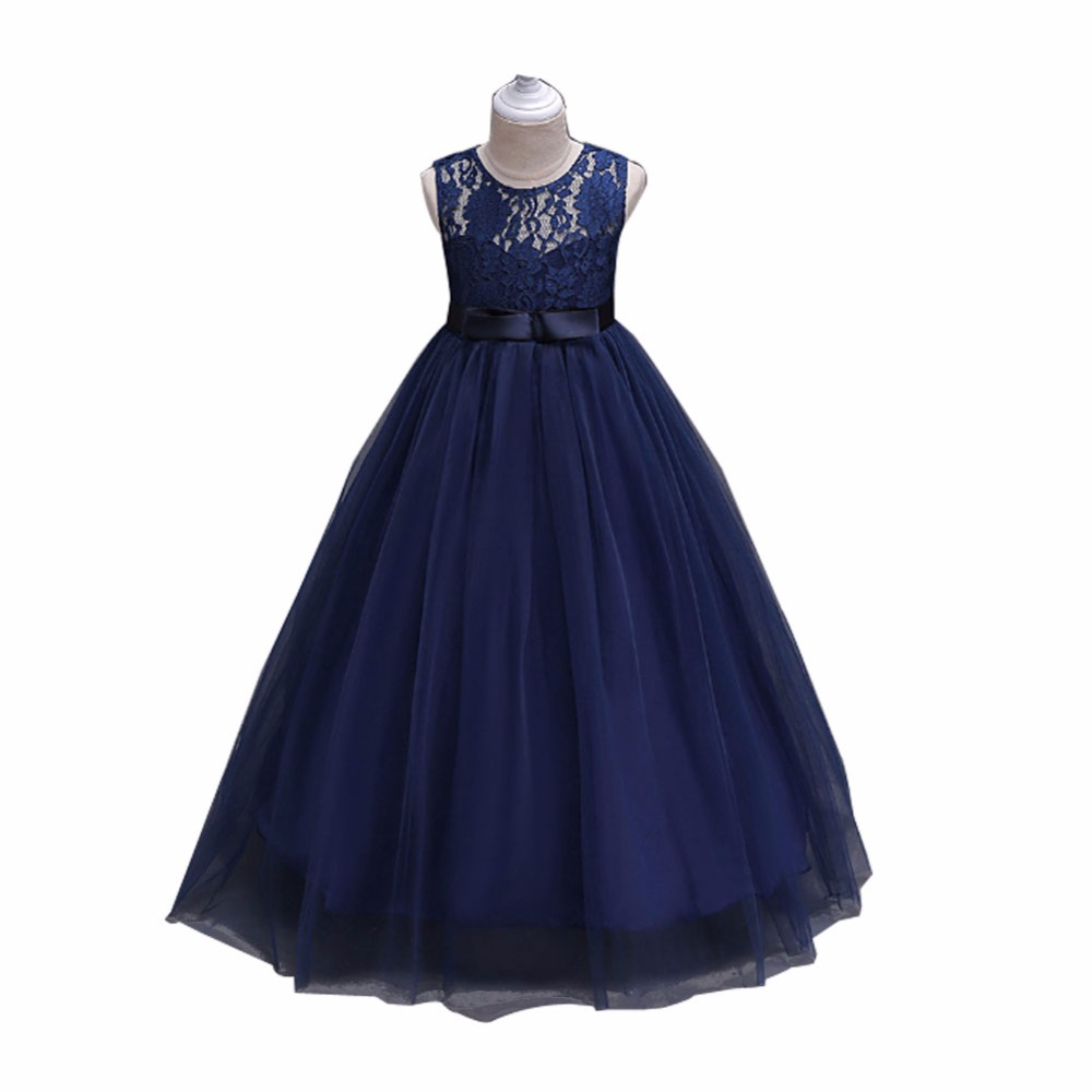 Girl dresses sleeveless princess lace dress for wedding for Wedding party dresses for girl