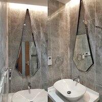 Six sided diamond leather decorative mirror wall hanging simple entrance mirror washbasin bathroom makeup mirror Nordic LO611555