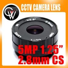 5pcs 5MP 2.8mm CS lens f1.25 1/3 ir cctv lens cs mount for Day/night CCD Security CCTV IP Camera
