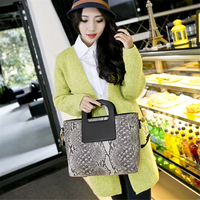 Women Snake PU Leather Handbag Casual Large Top Handle Tote Bags For Ladies Brand Designer Crossbody