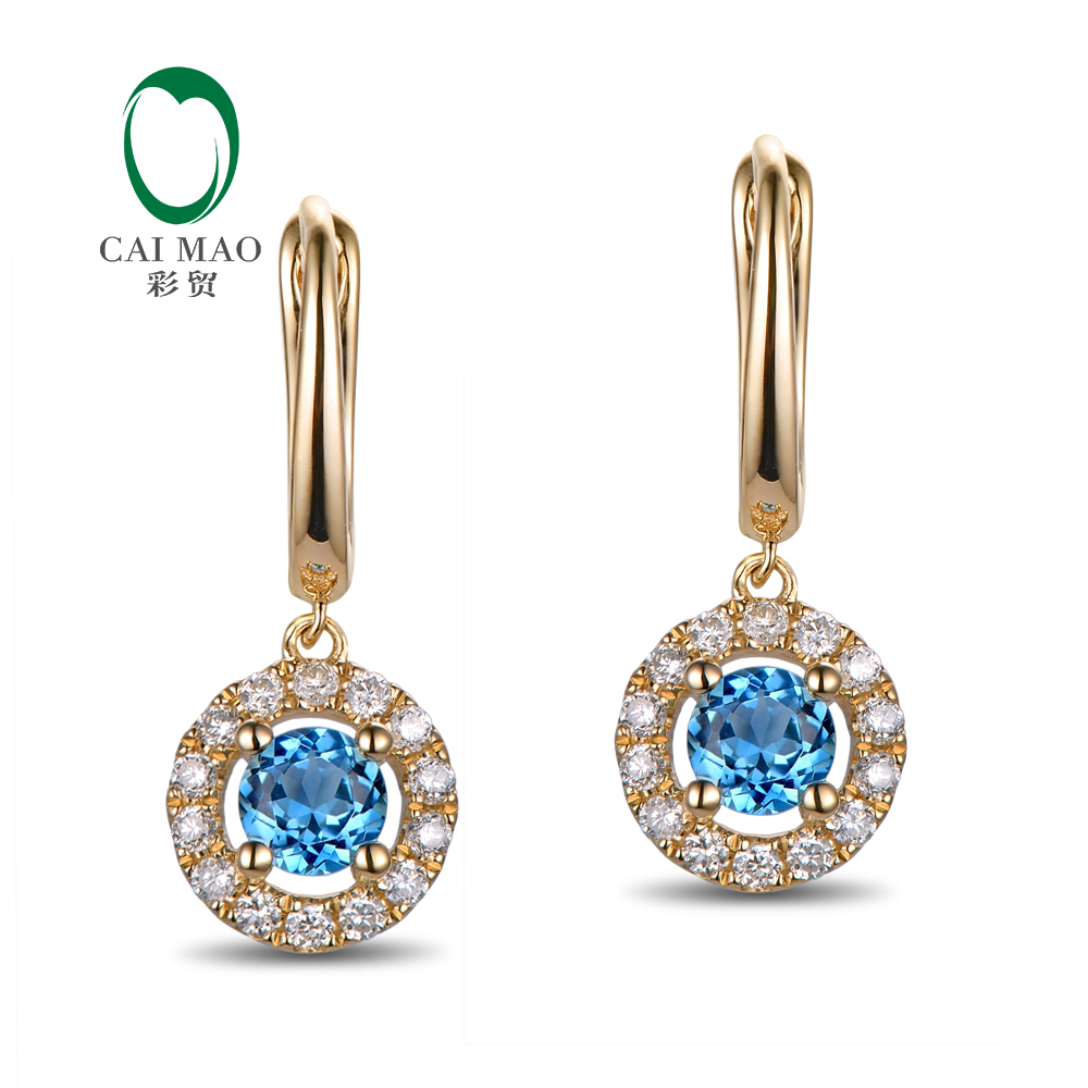 Us 283 5 19 Off Caimao Jewelry 14kt Yellow Gold 0 76ct Flawless 4mm Round Topaz Diamonds Earrings Drop In From