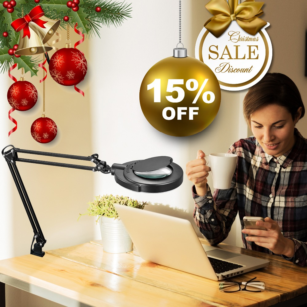 Lesen Hobby Handwerk SMD LED Schaukel Arm Aufgabe Clamp Clip-auf Lampe Beleuchtung Desktop Lupe Lupe Len Tisch clamp Lampe