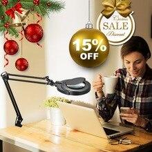Чтение хобби ремесло SMD СВЕТОДИОДНЫЙ LED качели рука задача зажим клип на лампы освещение рабочего Лупа увеличительное стекло Len настольная лампа зажим