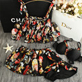 STAR MENG new biquinis feminino 2016 XL girls black floral bikini natural color suit female women personality support thin cover