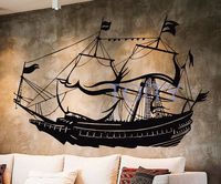 Nautical Sailor Vinyl Stickers Sail Ship Brig Boat Wall Decal Window Bedroom Nursery Decor Home Interior