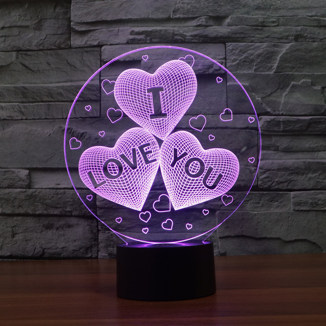 Acrylic 7 Color Changing USB charge 3D HEART I LOVE YOU LED night light with 3D luminous Decor  table lamp nightlight IY803376