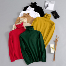 Winter Thick Turn-down Collar High Elasticity Casual Pullovers Female Turtleneck Knitted Women Sweater Black White