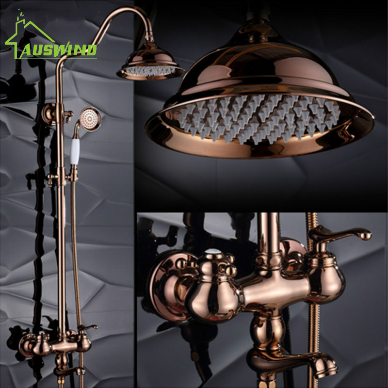 AUSWIND Rose Gold shower Set Bathroom Accessories Solid Brass Double Handle Shower Bathroom Products Polished Finish drop shippi