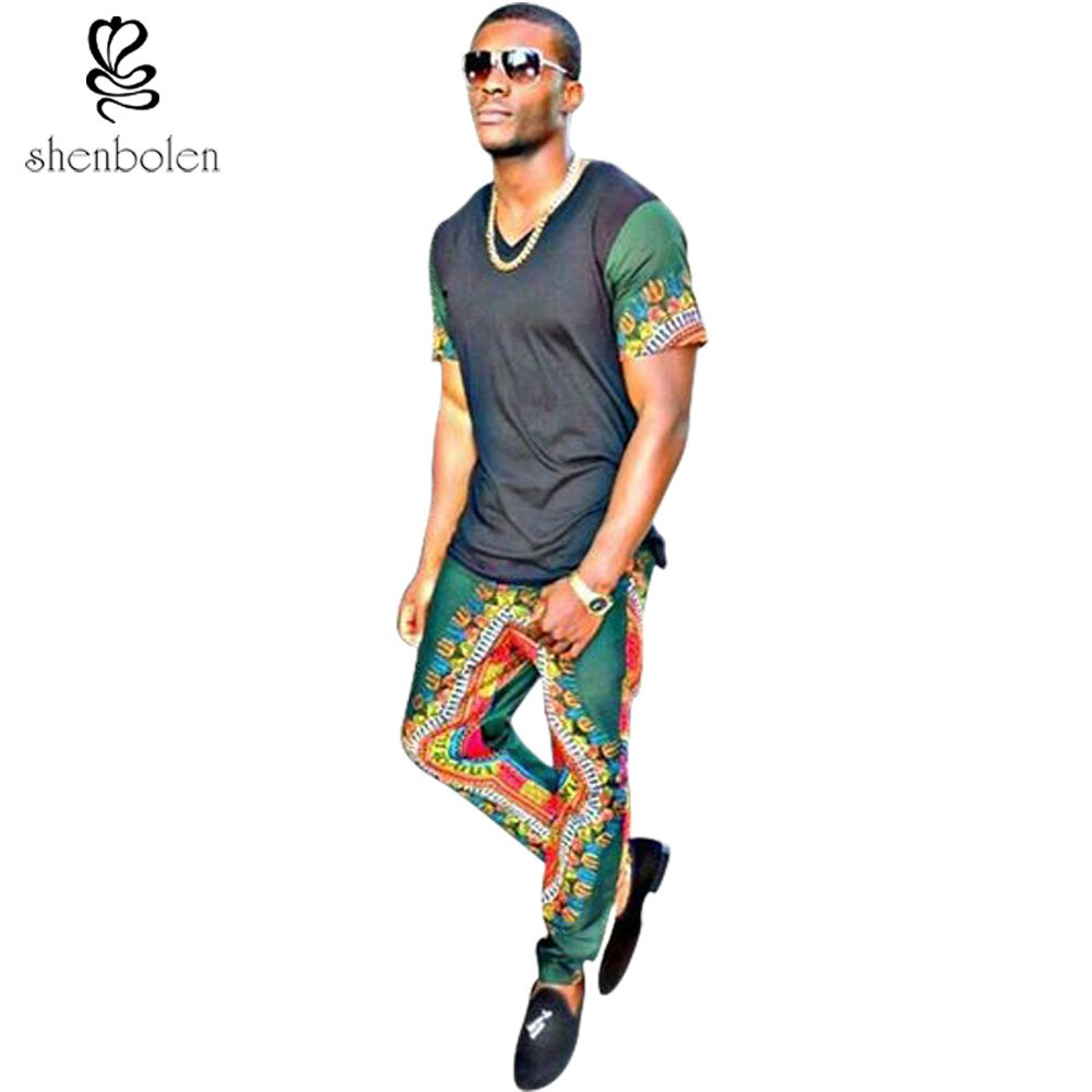 2018 new African fashion men's suits, dashiki batik stitching short sleeved shirt + cotton dashiki high quality sewing pants