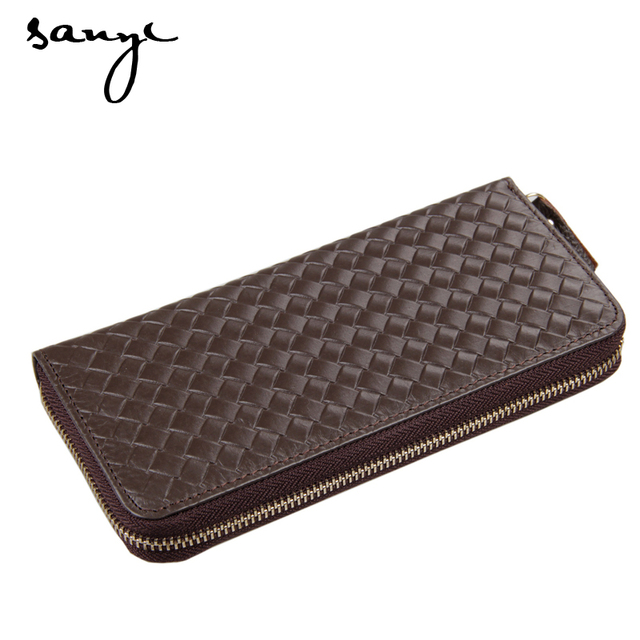 2016  Genuine Leather Men Wallet Bag Coin Long Wallets Handbags  Men Clutch Bags Card Holder  Hand Bag Fashion Woven Design