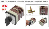 500V 16A 8 Terminals 4 Positions Rotary Cam Changeover Switch