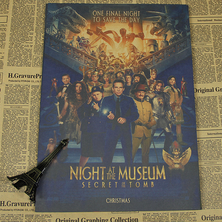 Vintage Poster <font><b>Night</b></font> <font><b>at</b></font> <font><b>the</b></font> <font><b>Museum</b></font> movie poster Owen Wilson movie bar living room decorative painting retro poster 30x21cm
