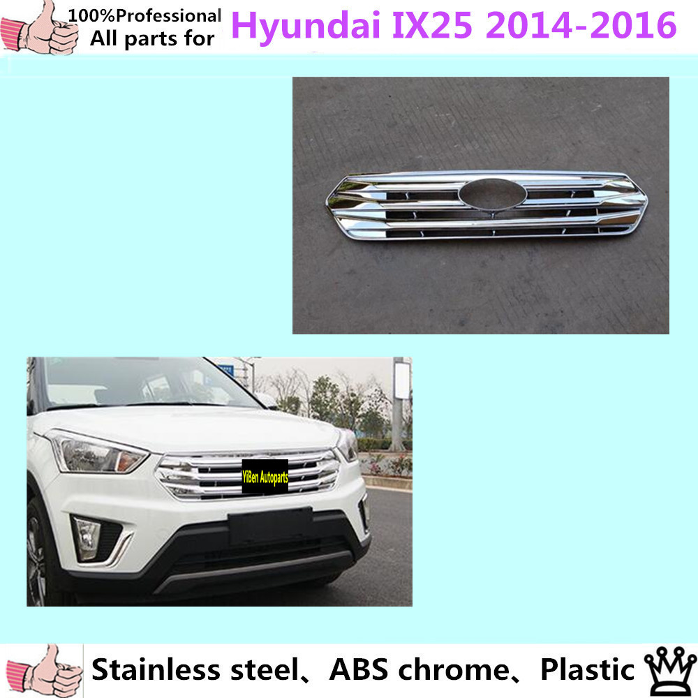 High Quality Car body cover detector ABS chrome trim Front up Grid Grill Grille Around 1pcs for Hyundai IX25 2014 2015 2016 steel racing front grille grill bezel honeycomb mesh cover trim grid for nissan qashqai 2014 2015 2016