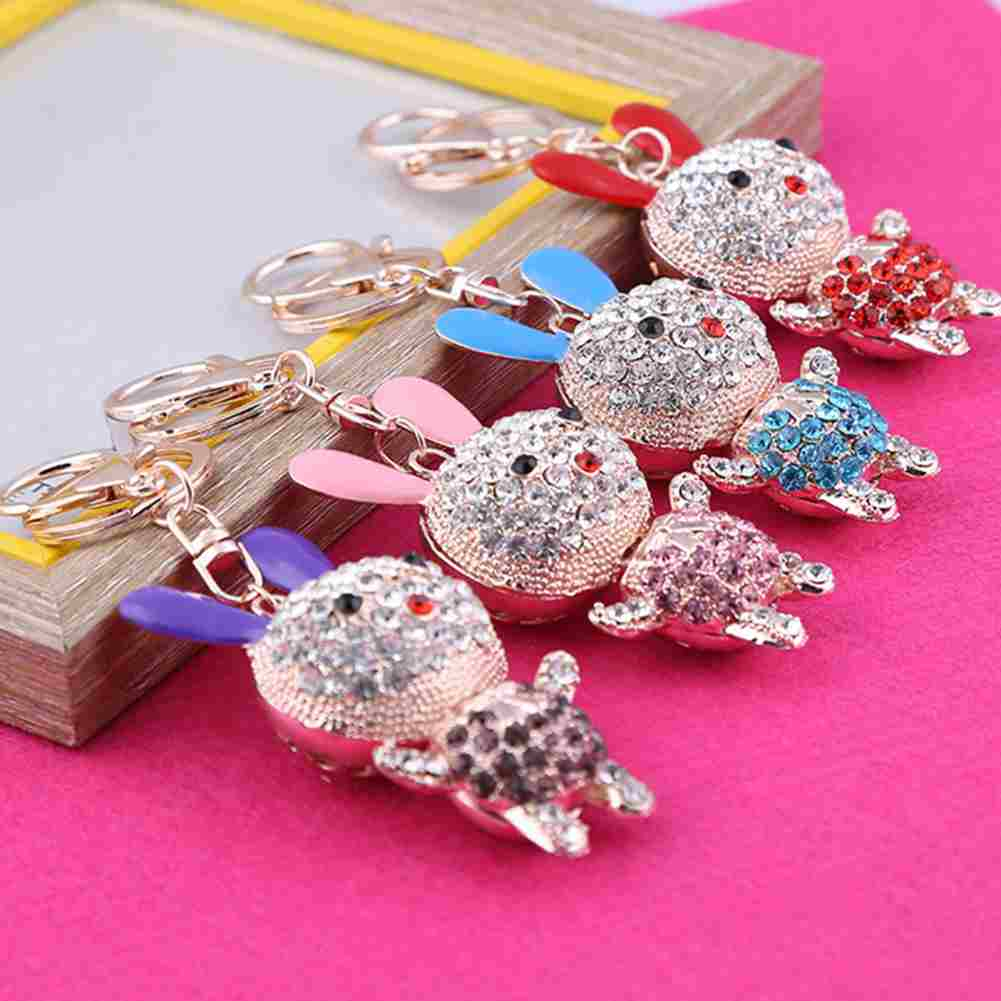 1PC Cute Bunny Rhinestone Crystal Rabbit Pendant Bag Charm Keyring ...