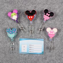 Transparent PVC Badge Scroll Nurse Reel Cute Bear Character Scalable Colors Mouse Exhibition ID  Plastic Card Holder