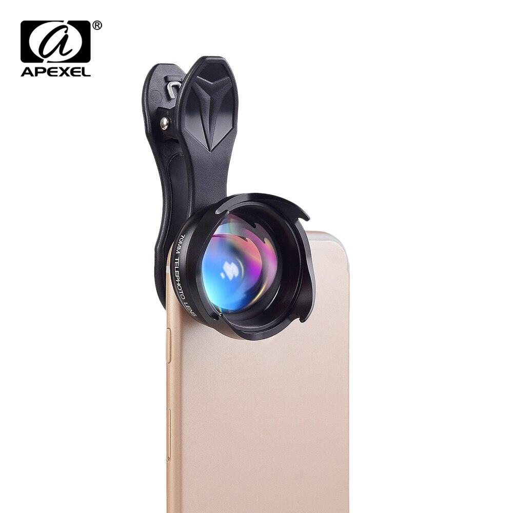 APEXEL Professionnel téléphone Lentille 2.5X HD REFLEX Telefon télescope lentille bokeh Portrait pour iPhone 6 S/7 Xiaomi plus smartphone 70mm