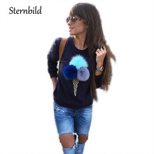 STERNBILD Autumn Plush Ball Casual Pullovers Women Tops Sweet Style Slim O-Neck Long Sleeve Sweatshirt Femme Fashion Hoodies