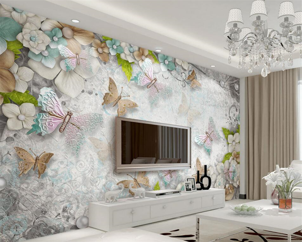 Beibehang customize wallpaper 3d high quality gorgeous for Salotto con tv