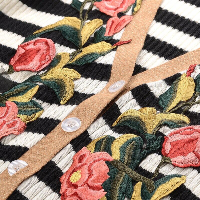 Jeaket Long Cardigan 2018 Hiver Équipé Piste Floral Vintage Femmes Manteau Chandail Broderie Jumper Femelle Rayé Vêtements lKJF1c