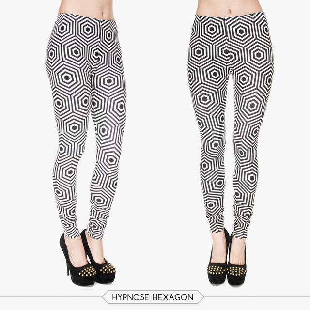 2015 Beautiful Classical Joker Long Skinny Pants New Polyester 3D Black White hypnos hexagon Printed Women Girl Funny Leggings