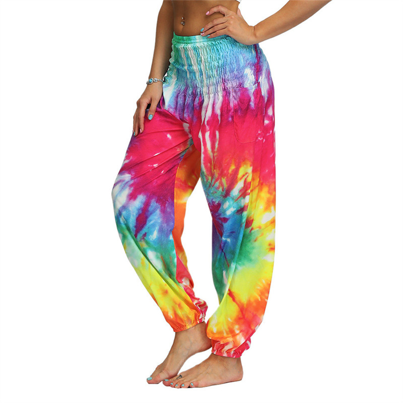 Women Harem   Pants   Tie Dyeing Chic   Wide     Leg     Pants   Summer Casual Beach Party Wear Boho High Waist Sarouel Femme Pantalons