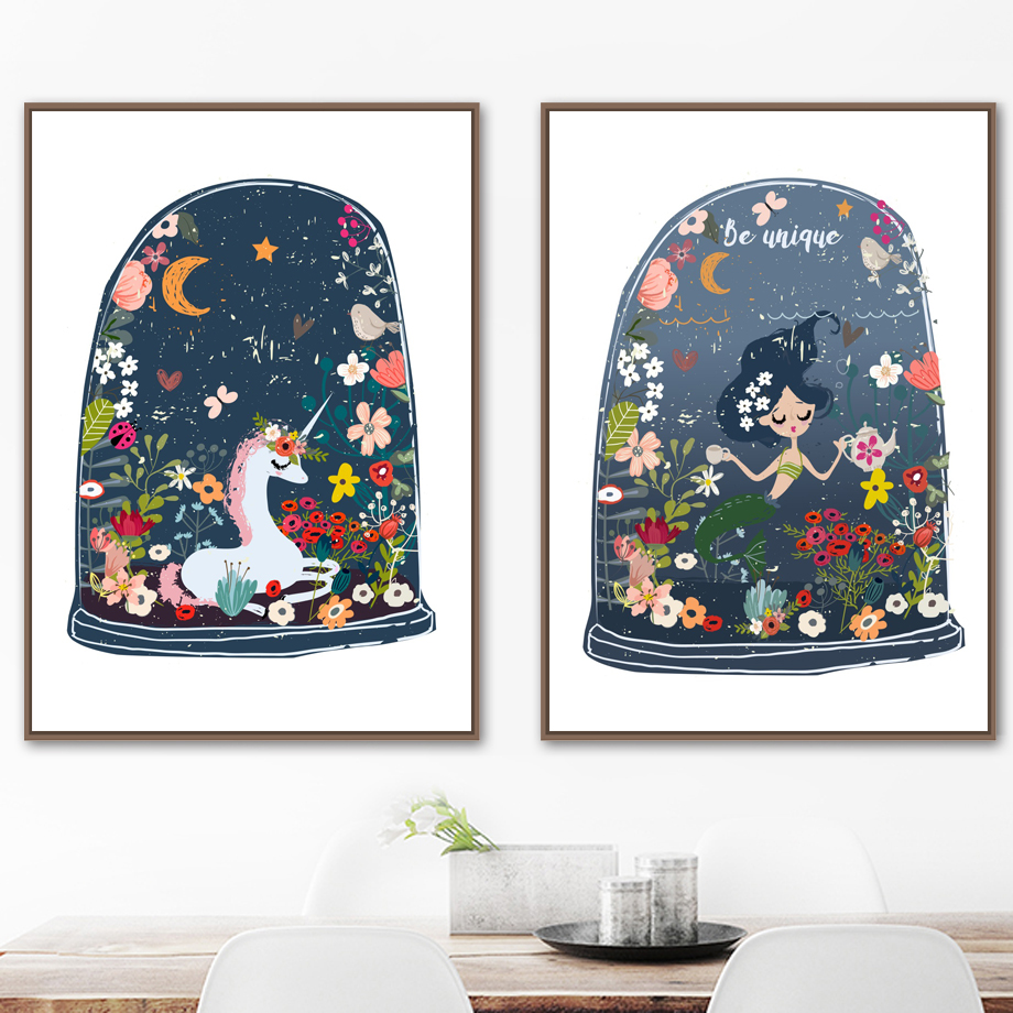Nordic Girl with Fish Flower Canvas Poster Art Prints Wall Picture Home Decor