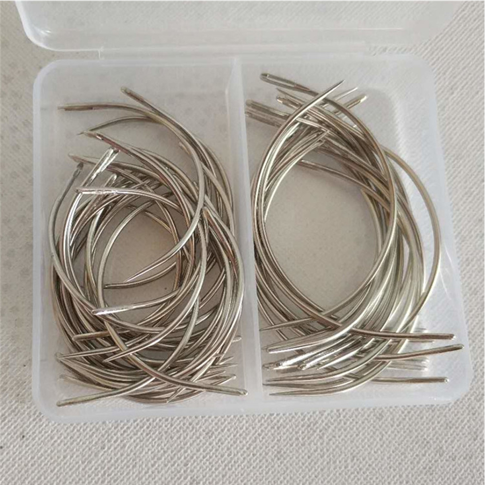 50pcs Combo Deal C Type Hair Weave Needle Canvas Repair Weaving Curved Sewing Needles Pins 30pcs 2.5inch + 20pcs 3inch