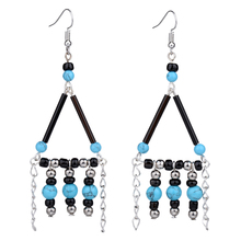 MYTHIC AGE Bohemia Hand Made Triangle Blue Ball Beads Long Tassel Vintage Exotic Drop Dangle Earrings Jewelry For Women цена 2017
