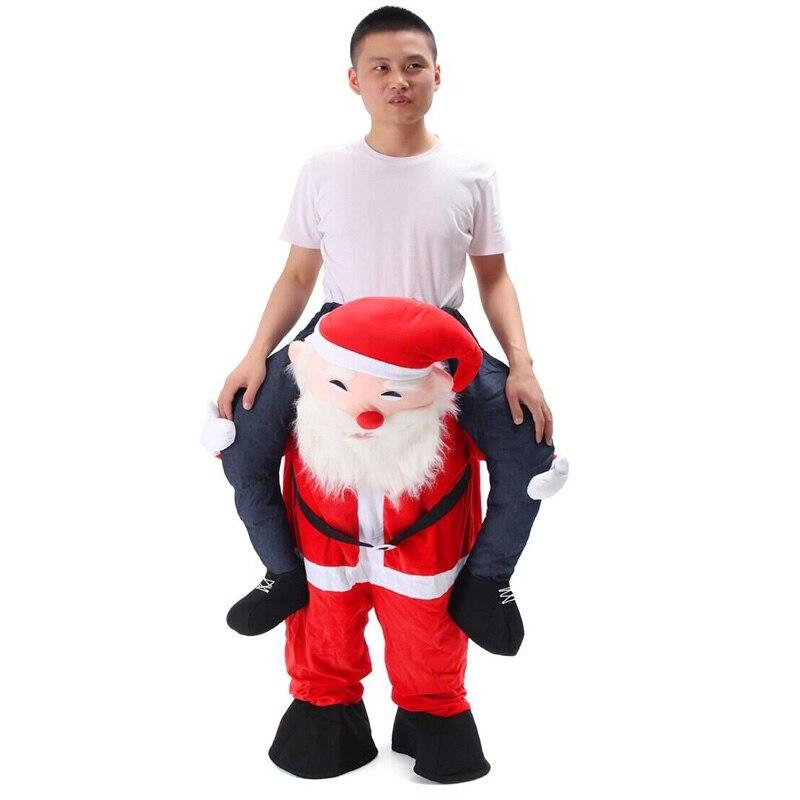 Nouveauté Costume de père noël monter sur moi mascotte transporter fantaisie Up fête Costume unisexe vêtements de Festival de noël pantalons drôles