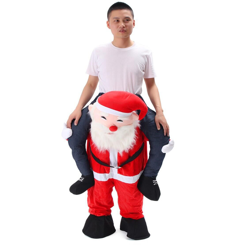 Novelty Santa Claus Costume Ride on Me Mascot Carry Back Fancy Up Party Unisex Costume Christmas Festival Clothes Funny Pants adult christmas santa claus costumes flocking rabbit fur fancy cosplay santa claus clothes good quality costume christmas suit